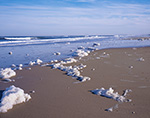 """Natural """"Foam"""" and Surf on Beach, Bodie Island, Atlantic Ocean, Cape Hatteras National Seashore, Outer Banks, NC"""