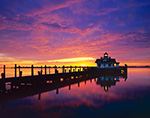 Sunrise at Roanoke Marshes Lighthouse, Part of North Carolina Maritime Museum, Roanoke Island Festival Park, Outer Banks, Manteo, NC