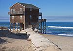 House on the Edge, Sandbags against Beach Erosion on Bodie Island, Outer Banks, NC