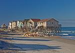 Atlantic Ocean Encroaching upon Houses on Beach Edge, Beach Erosion on Bodie Island, Outer Banks, NC