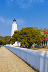 Ocracoke Light with Trees and White Fence under Blue Skies, Ocracoke Island, Cape Hatteras National Seashore, Outer Banks, NC