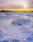 Sunset over Frozen Tidal Area, Bluff Point State Park and Coastal Reserve, Groton, CT