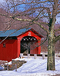 Arlington Covered Bridge with Oak Tree in Winter Arlington, VT
