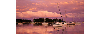 Sunset over Sailboats in Pine Island Bay after Summer Storm, Groton, CT