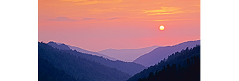Setting Sun at Morton Overlook, Great Smoky Mountains National Park, TN