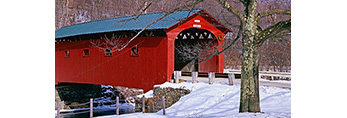 Arlington Covered Bridge with Oak Tree in Winter Arlington, VT