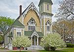 Spring Blossoms and Trinity Methodist Church, Built in 1878, Trinity Park, Martha's Vineyard, Oak Bluffs, MA