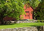 Red Barn and Stonewalls in Spring, Thompson, CT