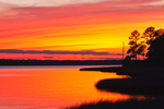 Sunset over East Bay, View from Boardwalk at Apalachicola River Wildlife and Environmental Area, Gulf Coast, Florida Panhandle, Gulf of Mexico, Franklin County, FL