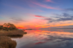 Colorful Sky and Water at Predawn over East Bay, View from Boardwalk at Apalachicola River Wildlife and Environmental Area, Gulf Coast, Florida Panhandle, Gulf of Mexico, Franklin County, FL