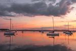 Predawn Light over Sailboats in Sag Harbor, Long Island, Village of Sag Harbor, East Hampton, NY