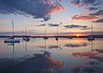 Sunrise over Sailboats with Reflections in Sag Harbor, Long Island, Village of Sag Harbor, East Hampton, NY