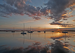 Sunrise over Sailboats with Reflections in Sag Harbor, Long Island, Village of Sag Harbor, East Hampton, NY