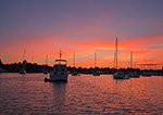 Boats at Sunset in Stirling Harbor (Basin), Long Island, Village of Greenport, Southold, NY