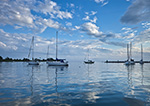 Quiet Before the Storm, Boats in Pine island Bay, off Fishers Island Sound, Long island Sound, Groton, CT