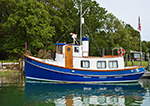 Tugboat-type Cruiser on Menantic Creek, off West Neck Harbor, Long Island, Shelter Island, NY