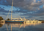 Early Morning Light on Yachts at Dock in Sag Harbor, Long Island, Village of Sag Harbor, East Hampton, NY