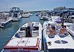Cigarette Boats at Claudio's Clam Bar Restaurant and Marina, Greenport Waterfront, Long Island, Village of Greenport, Southold, NY