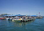 Lunchtime on the Docks at Claudio's Clam Bar Restaurant and Marina, Greenport Waterfront, Long Island, Village of Greenport, Southold, NY