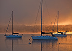 Sunrise over Boats through Fog on Connecticut River, Essex, CT