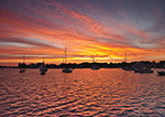 Sunrise over Boats in Watch Hill Cove, Village of Watch Hill, Westerly, RI
