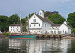 """Connecticut River Museum with Schooner """"Mary E"""" at Dock, Connecticut River, Essex, CT"""