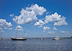 Billowing Cumulus Clouds on Summer Day over Boats in Watch Hill Cove, Village of Watch Hill, Westerly, RI