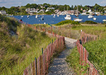 Path Through Dunes with Beach Fence and Boats in Watch Hill Cove, Napatree Point Conservation Area, Town of Watch Hill, Westerly, RI