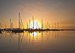 Sunrise over Boats with Reflections in Still Waters of Cuttyhunk Pond, Cuttyhunk Island, Elizabeth Islands, Town of Gosnold, MA