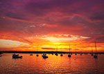Spectacular Sunset over Boats in Westport River, Westport Point, Westport, MA