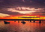 Spectacular Sunset over Boats in Westport River, Westport Point, Westport, MA