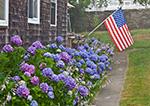 Hydrangeas and American Flag alongside Cedar-Shingled Post Office on Cuttyhunk Island, Elizabeth Islands, Town of Gosnold, MA