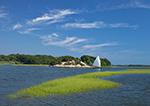 Sailboat and Salt Marsh on Westport River, Westport, MA