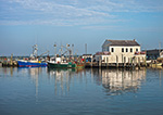 Commercial Fishing Boats at Dock on Westport River, Village of Westport Point, Westport, MA