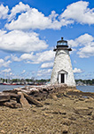 Palmer Island Lighthouse under Blue Skies and Puffy White Clouds, New Bedford Harbor, New Bedford, MA