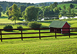 Little Red Barn, Pond and Fence on Little Farm, Hudson River Valley, Duchess County, Stanford, NY