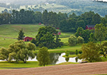 Small Red Barns, Pond, and Farmland, Hudson River Valley, Duchess County, Stanford, NY