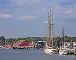"Schooners ""Mystic"" and ""Argia"" at Dock with Red Boat Houses at Mystic Seaport in Backgound, Mystic River, Mystic, CT"