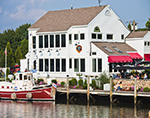 "P & S Oyster House with ""Elsie Marina"" Tour Boat at Dock, Mystic River, Mystic, CT"