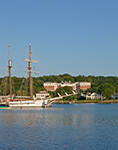 """Schooner """"Mystic"""" on Mystic River with Residences in Background, Mystic, CT"""