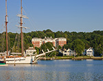 "Schooner ""Mystic"" on Mystic River with Residences in Background, Mystic, CT"