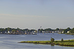 View of Mystic Seaport and Mystic River from I-95 Scenic Overlook, Mystic, CT
