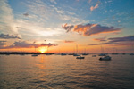 Sailboats at Sunrise in Padanaram, Apponagansett Bay, Buzzards Bay, South Dartmouth, MA