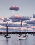 Moon and Late Evening Light in Vineyard Haven Harbor, Martha's Vineyard, Tisbury, MA Original: 4x5 inch color transparency
