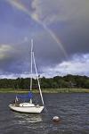 Rainbow over Sloop in Red Brook Harbor, Village of Cataumet, Cape Cod, Bourne. MA
