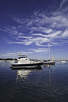 Boats with Reflections in Morning Calm, Red Brook Harbor, Village of Cataumet, Cape Cod, Bourne, MA