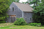 Weathered Cedar-shingled Barn with Flowers, Old Kings Highway, Cape Cod, Sandwich, MA