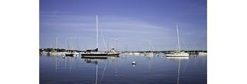 Boats in Calm Water with Reflections, Red Brook Harbor, Buzzards Bay, Cape Cod, Cataumet, Bourne, MA