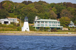 Sandy Point Lighthouse and Homes along Shoreline of Prudence Island, Narragansett Bay, Portsmouth, RI
