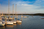 Early Morning Light on Boats at Dock and in Mooring Field, View from Wickford Yacht Club, Wickford Harbor, Village of Wickford, North Kingstown, RI